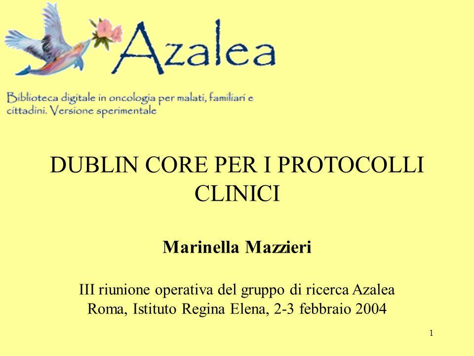 1 DUBLIN CORE PER I PROTOCOLLI CLINICI Marinella Mazzieri III riunione operativa del gruppo di ricerca Azalea Roma, Istituto Regina Elena, 2-3 febbrai