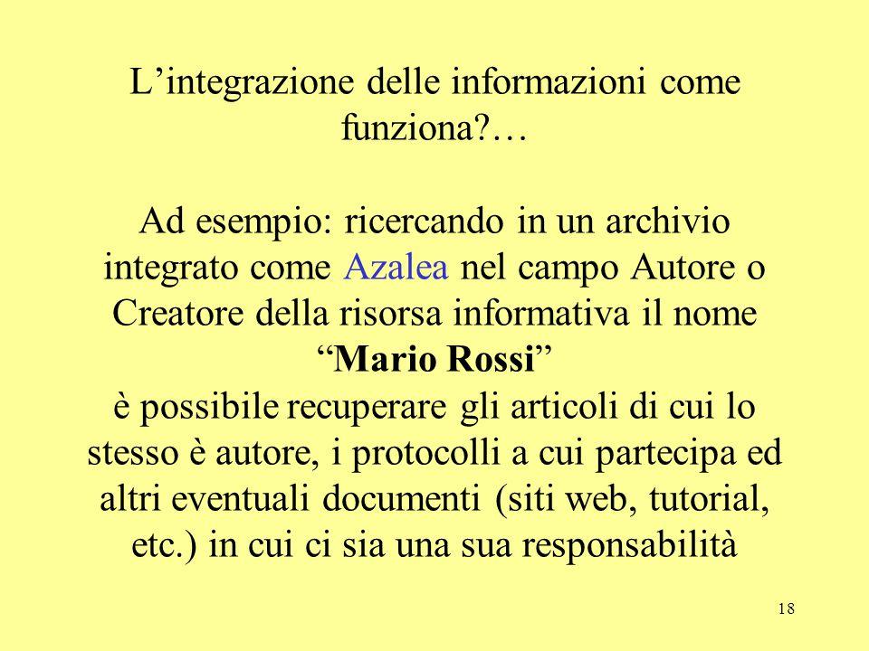 18 L'integrazione delle informazioni come funziona?… Ad esempio: ricercando in un archivio integrato come Azalea nel campo Autore o Creatore della ris