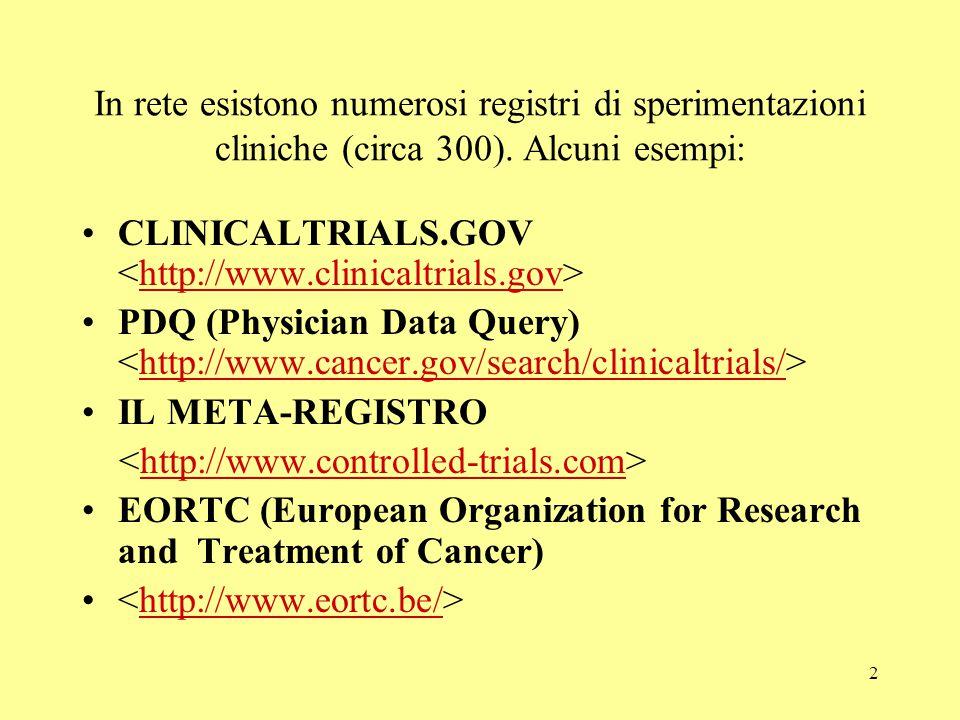 2 In rete esistono numerosi registri di sperimentazioni cliniche (circa 300). Alcuni esempi: CLINICALTRIALS.GOV http://www.clinicaltrials.gov PDQ (Phy