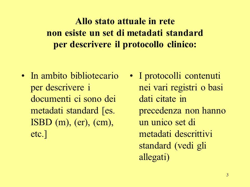 3 Allo stato attuale in rete non esiste un set di metadati standard per descrivere il protocollo clinico: In ambito bibliotecario per descrivere i doc