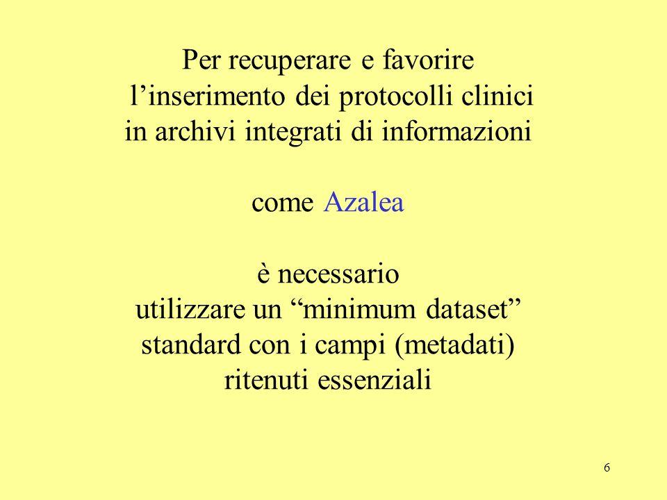 """6 Per recuperare e favorire l'inserimento dei protocolli clinici in archivi integrati di informazioni come Azalea è necessario utilizzare un """"minimum"""