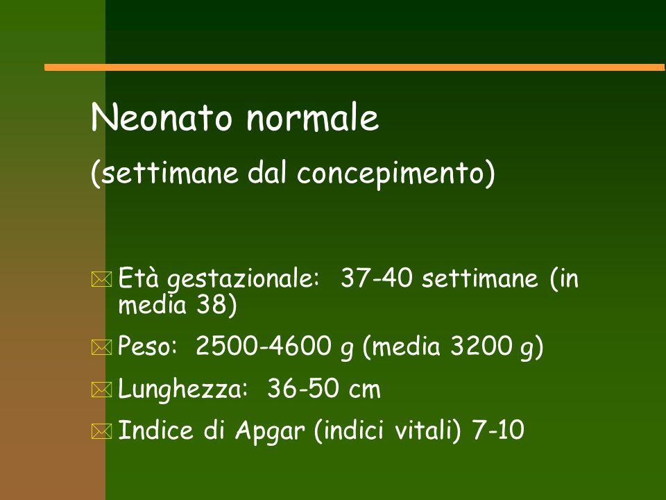 Neonato normale (settimane dal concepimento) * Età gestazionale: 37-40 settimane (in media 38) * Peso: 2500-4600 g (media 3200 g) * Lunghezza: 36-50 c