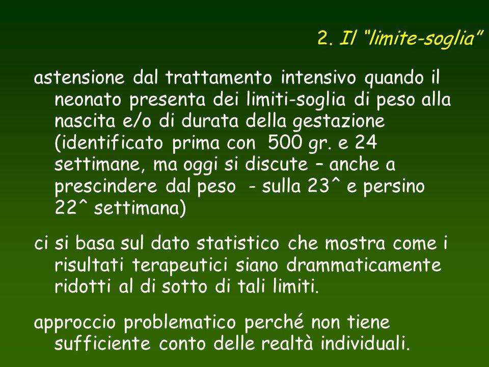 """2. Il """"limite-soglia"""" astensione dal trattamento intensivo quando il neonato presenta dei limiti-soglia di peso alla nascita e/o di durata della gesta"""