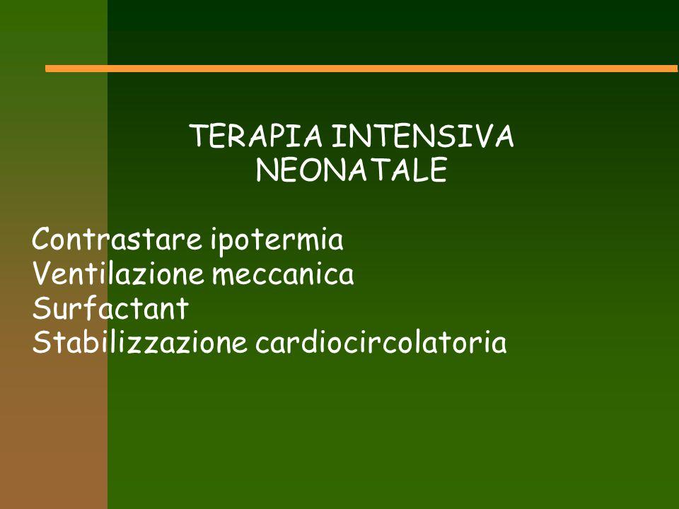 TERAPIA INTENSIVA NEONATALE Contrastare ipotermia Ventilazione meccanica Surfactant Stabilizzazione cardiocircolatoria