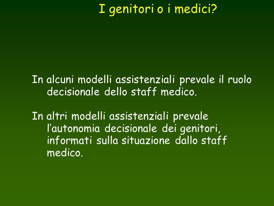 In alcuni modelli assistenziali prevale il ruolo decisionale dello staff medico. In altri modelli assistenziali prevale l'autonomia decisionale dei ge