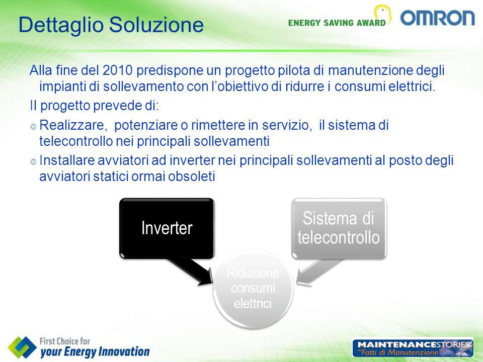 Dettaglio Soluzione Alla fine del 2010 predispone un progetto pilota di manutenzione degli impianti di sollevamento con l'obiettivo di ridurre i consu