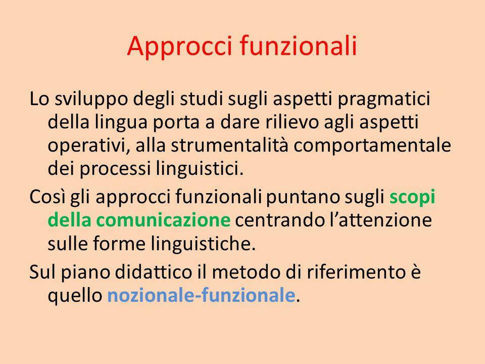 Approcci funzionali Lo sviluppo degli studi sugli aspetti pragmatici della lingua porta a dare rilievo agli aspetti operativi, alla strumentalità comp