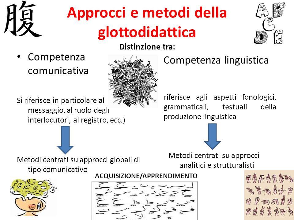 Approcci e metodi della glottodidattica Distinzione tra: Competenza comunicativa Si riferisce in particolare al messaggio, al ruolo degli interlocutor