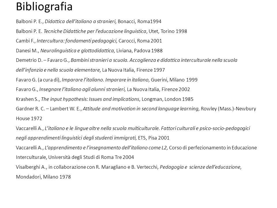 Bibliografia Balboni P. E., Didattica dell'italiano a stranieri, Bonacci, Roma1994 Balboni P. E. Tecniche Didattiche per l'educazione linguistica, Ute