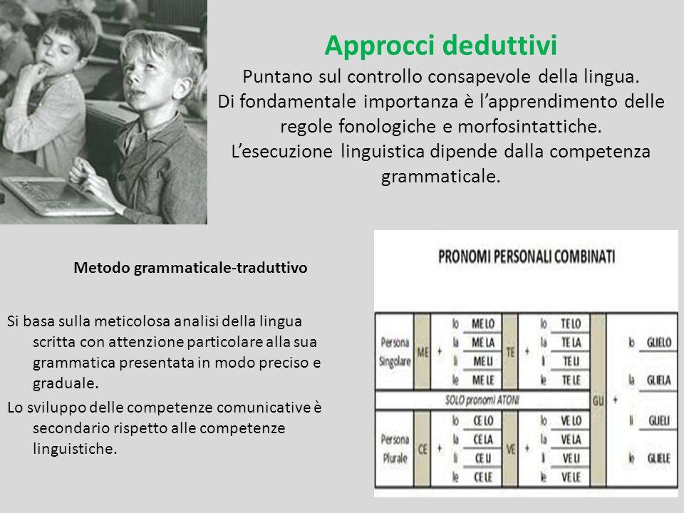 Approcci deduttivi Puntano sul controllo consapevole della lingua. Di fondamentale importanza è l'apprendimento delle regole fonologiche e morfosintat