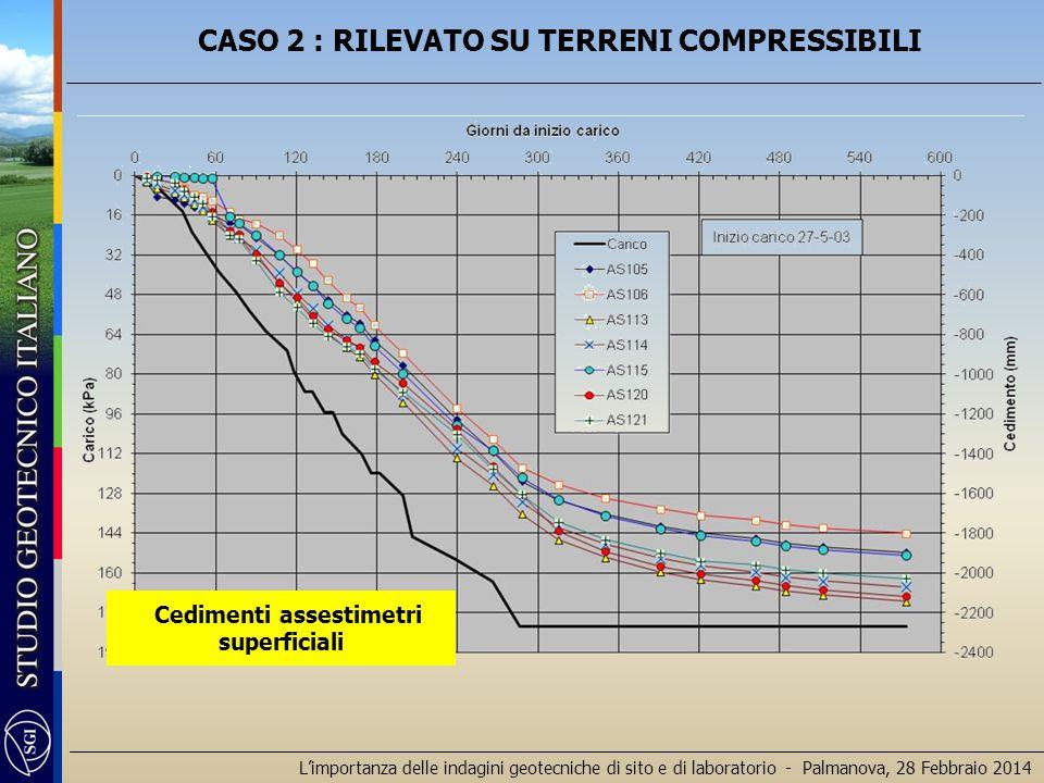 L'importanza delle indagini geotecniche di sito e di laboratorio - Palmanova, 28 Febbraio 2014 Cedimenti assestimetri superficiali CASO 2 : RILEVATO S