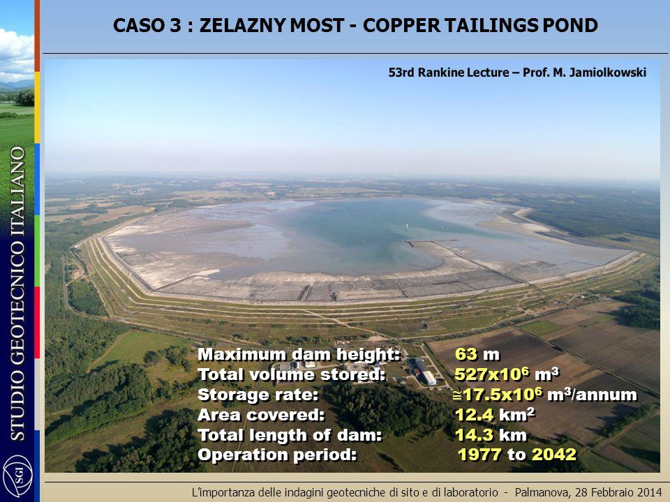 L'importanza delle indagini geotecniche di sito e di laboratorio - Palmanova, 28 Febbraio 2014 Maximum dam height: 63 m Total volume stored: 527x10 6