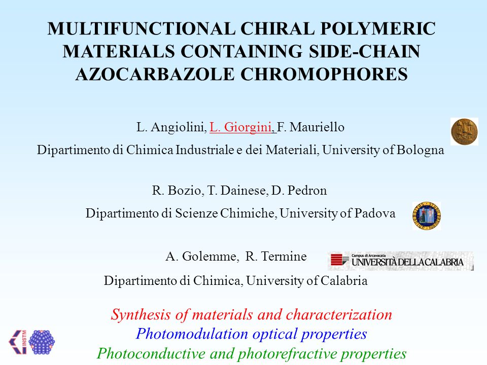MULTIFUNCTIONAL CHIRAL POLYMERIC MATERIALS CONTAINING SIDE-CHAIN AZOCARBAZOLE CHROMOPHORES L.