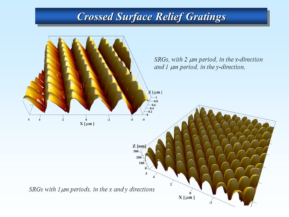 Crossed Surface Relief Gratings SRGs with 1  m periods, in the x and y directions SRGs, with 2  m period, in the x-direction and 1  m period, in the y-direction,