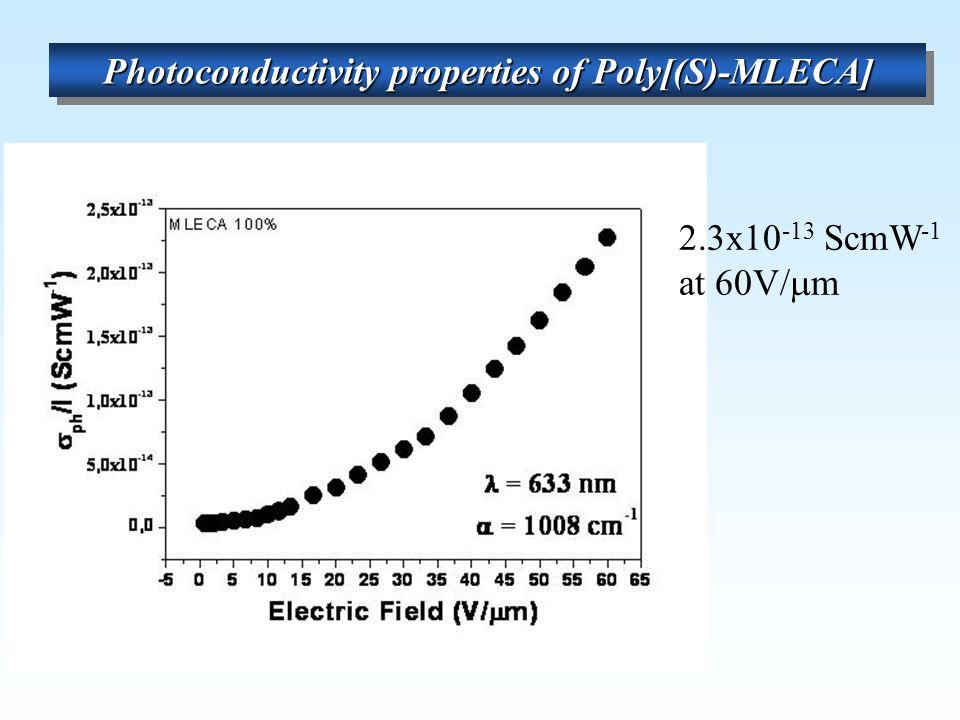 Photoconductivity properties of Poly[(S)-MLECA] 2.3x10 -13 ScmW -1 at 60V/  m