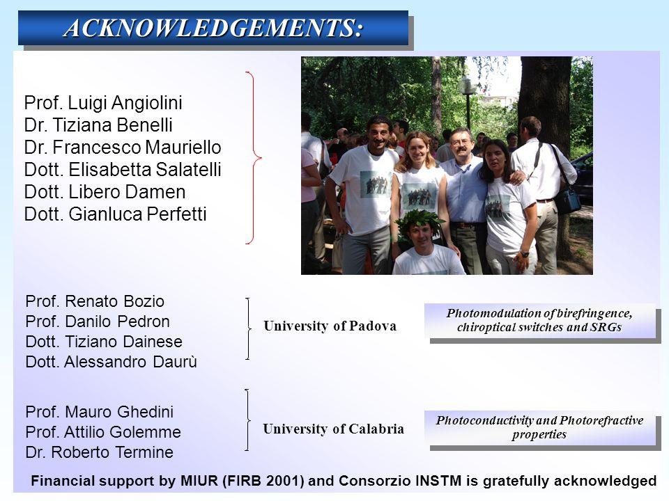 Prof.Luigi Angiolini Dr. Tiziana Benelli Dr. Francesco Mauriello Dott.