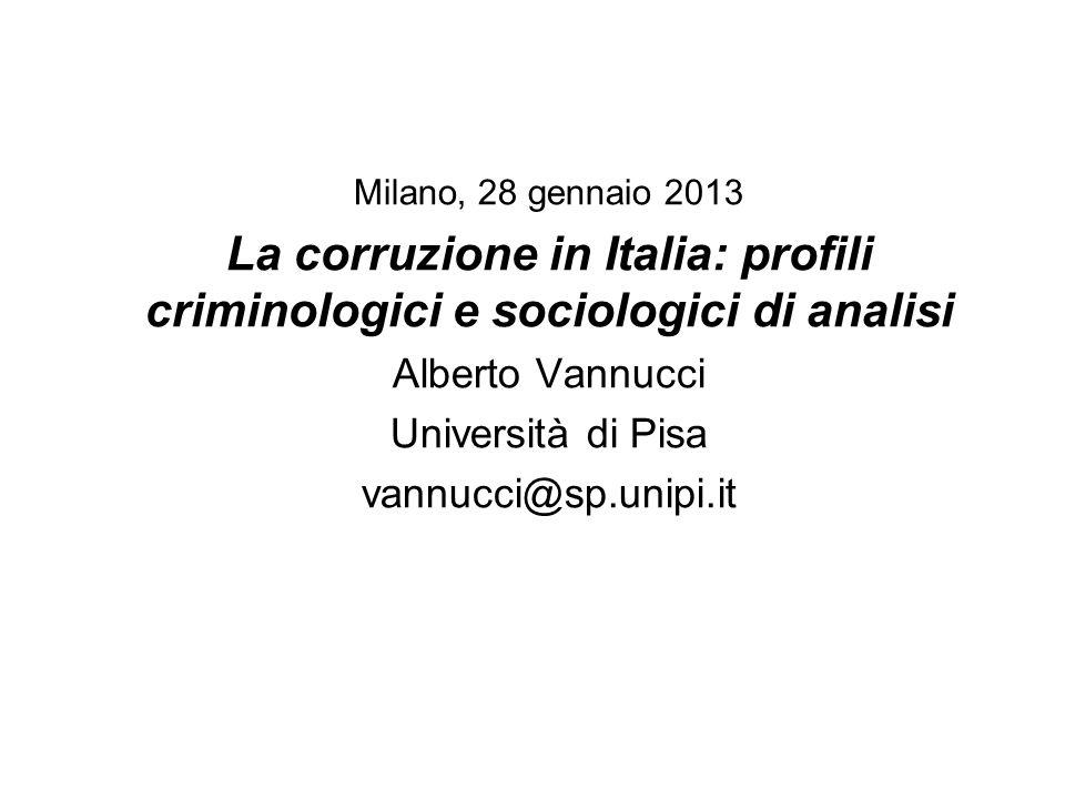 Milano, 28 gennaio 2013 La corruzione in Italia: profili criminologici e sociologici di analisi Alberto Vannucci Università di Pisa vannucci@sp.unipi.