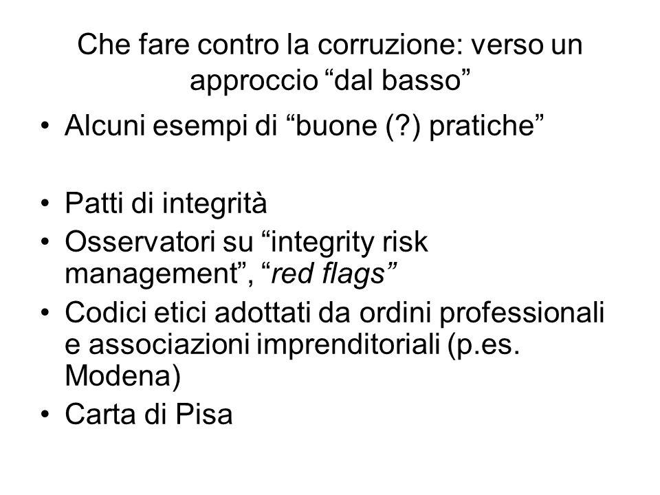 """Che fare contro la corruzione: verso un approccio """"dal basso"""" Alcuni esempi di """"buone (?) pratiche"""" Patti di integrità Osservatori su """"integrity risk"""