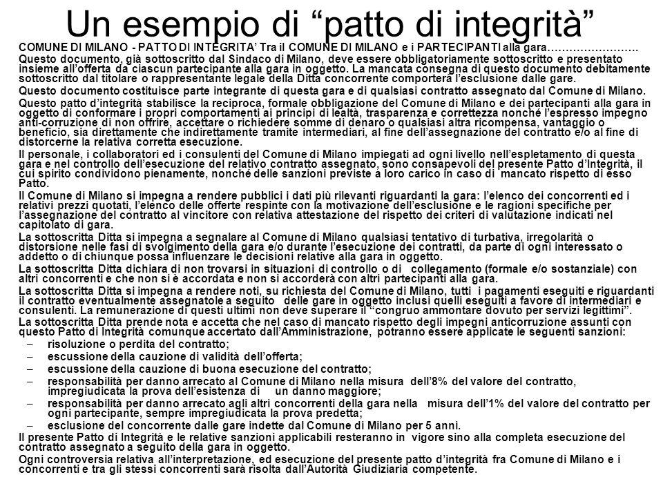 """Un esempio di """"patto di integrità"""" COMUNE DI MILANO - PATTO DI INTEGRITA' Tra il COMUNE DI MILANO e i PARTECIPANTI alla gara……………………. Questo documento"""