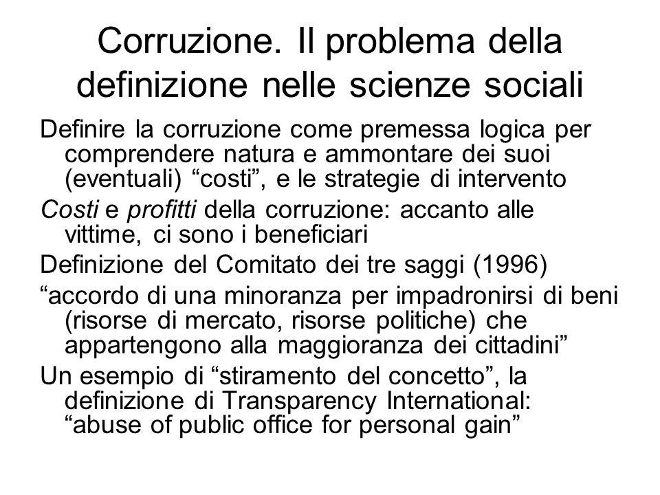 Corruzione. Il problema della definizione nelle scienze sociali Definire la corruzione come premessa logica per comprendere natura e ammontare dei suo