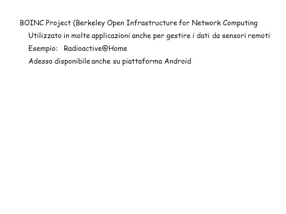 BOINC Project (Berkeley Open Infrastructure for Network Computing Utilizzato in molte applicazioni anche per gestire i dati da sensori remoti Esempio: Radioactive@Home Adesso disponibile anche su piattaforma Android