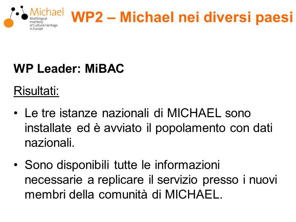 WP Leader: MiBAC Risultati: Le tre istanze nazionali di MICHAEL sono installate ed è avviato il popolamento con dati nazionali.