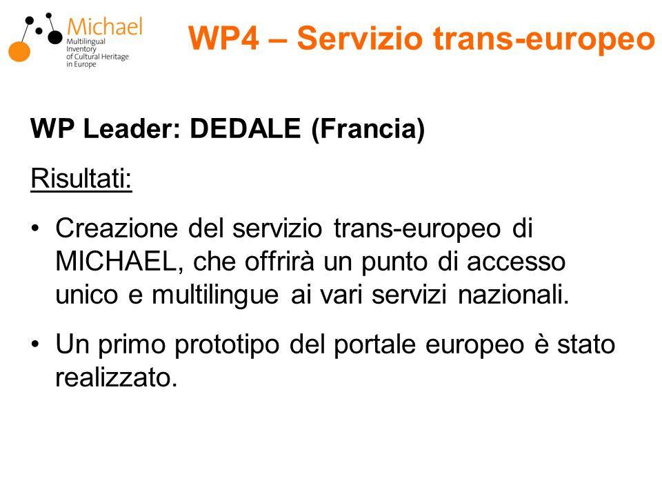 WP Leader: DEDALE (Francia) Risultati: Creazione del servizio trans-europeo di MICHAEL, che offrirà un punto di accesso unico e multilingue ai vari servizi nazionali.