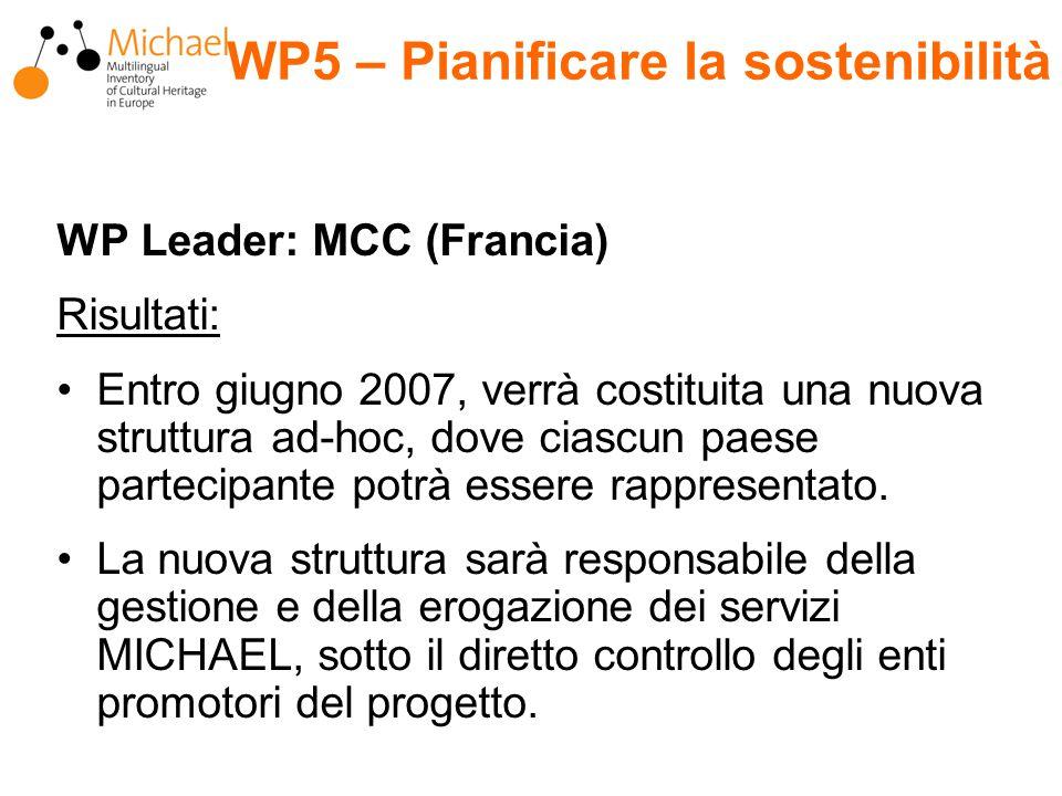 WP Leader: MCC (Francia) Risultati: Entro giugno 2007, verrà costituita una nuova struttura ad-hoc, dove ciascun paese partecipante potrà essere rappresentato.