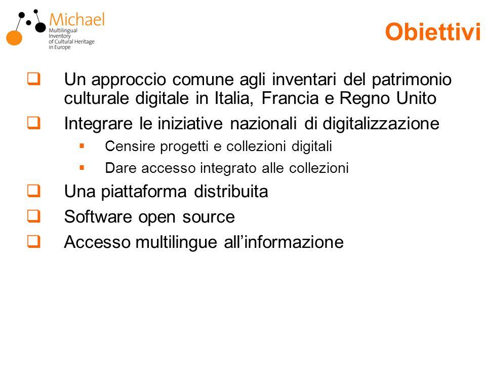  Un approccio comune agli inventari del patrimonio culturale digitale in Italia, Francia e Regno Unito  Integrare le iniziative nazionali di digitalizzazione  Censire progetti e collezioni digitali  Dare accesso integrato alle collezioni  Una piattaforma distribuita  Software open source  Accesso multilingue all'informazione Obiettivi