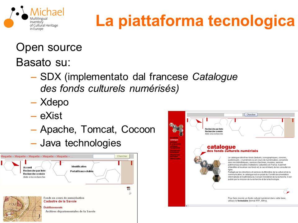 Open source Basato su: –SDX (implementato dal francese Catalogue des fonds culturels numérisés) –Xdepo –eXist –Apache, Tomcat, Cocoon –Java technologies La piattaforma tecnologica
