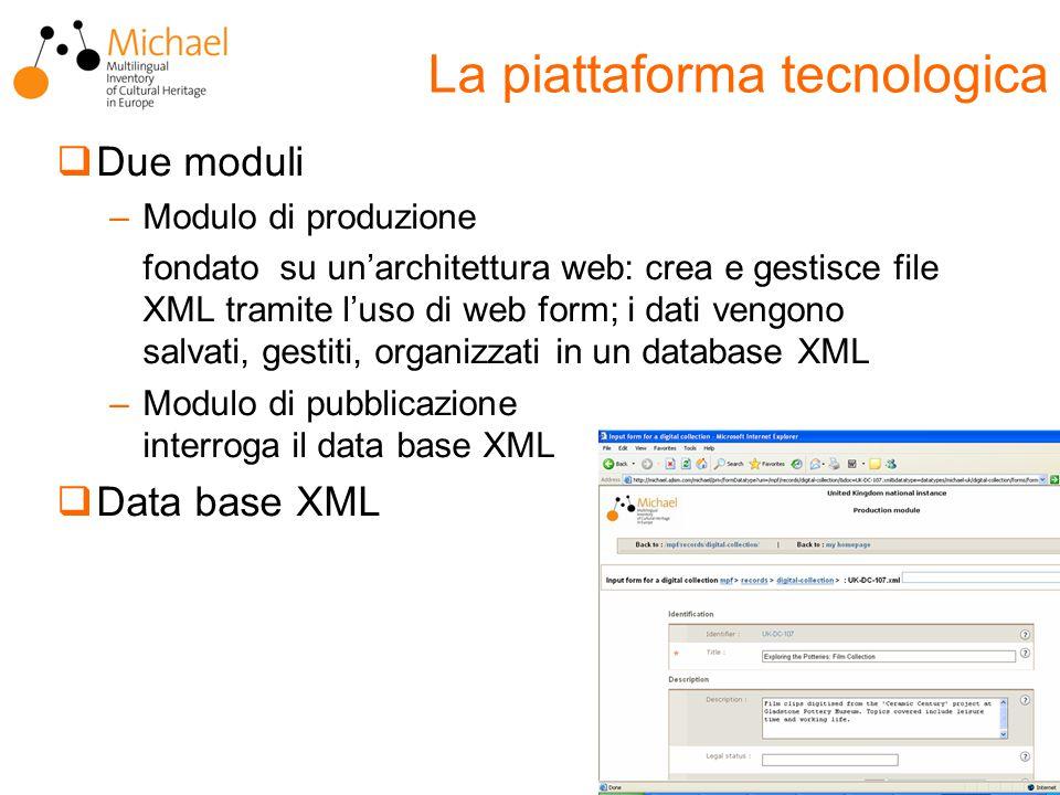  Due moduli –Modulo di produzione fondato su un'architettura web: crea e gestisce file XML tramite l'uso di web form; i dati vengono salvati, gestiti, organizzati in un database XML –Modulo di pubblicazione interroga il data base XML  Data base XML La piattaforma tecnologica