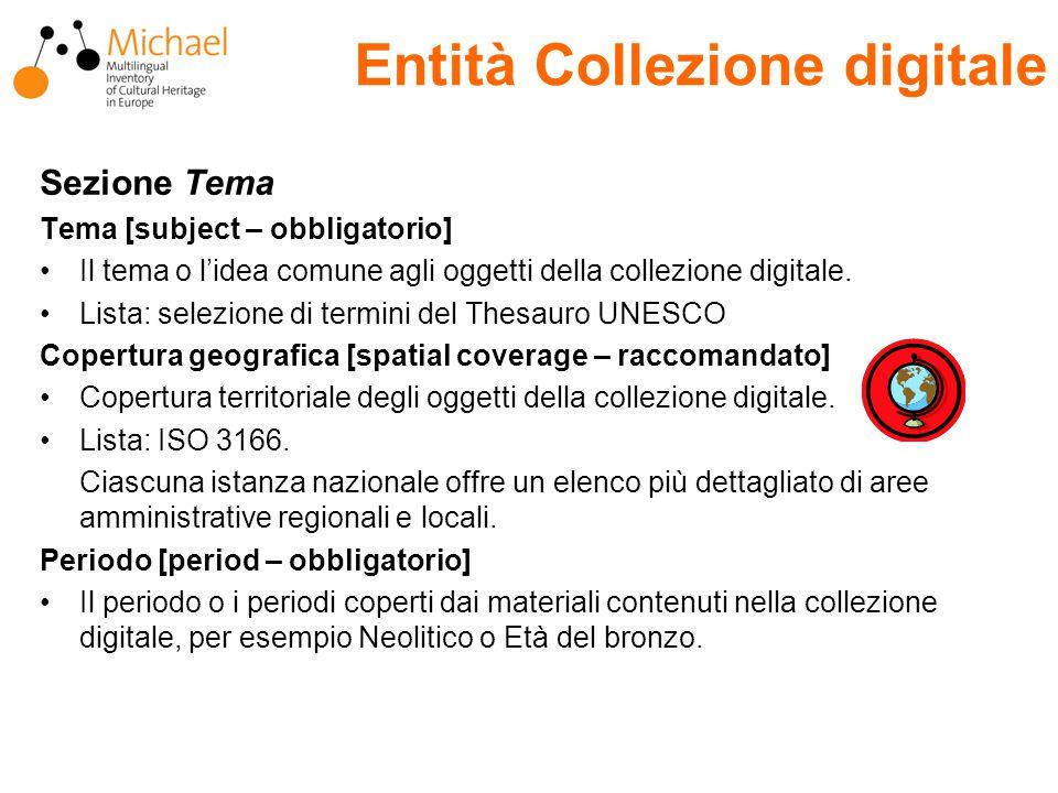 Entità Collezione digitale Sezione Tema Tema [subject – obbligatorio] Il tema o l'idea comune agli oggetti della collezione digitale.