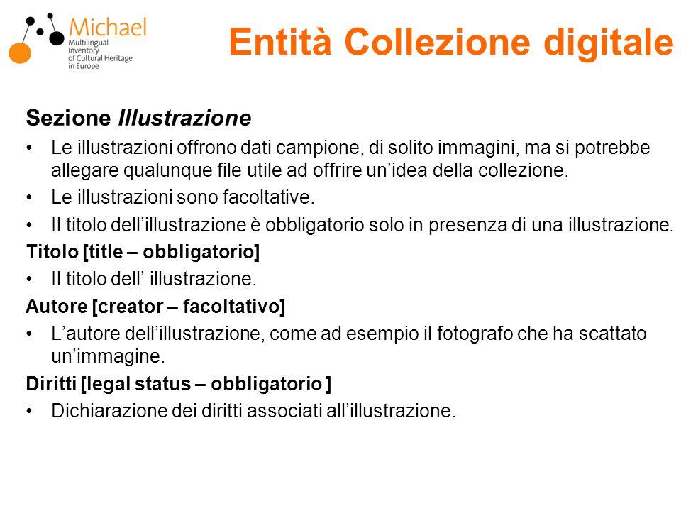 Entità Collezione digitale Sezione Illustrazione Le illustrazioni offrono dati campione, di solito immagini, ma si potrebbe allegare qualunque file utile ad offrire un'idea della collezione.