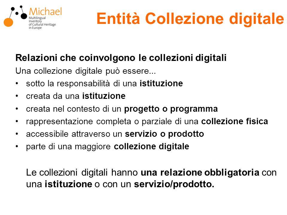 Entità Collezione digitale Relazioni che coinvolgono le collezioni digitali Una collezione digitale può essere...