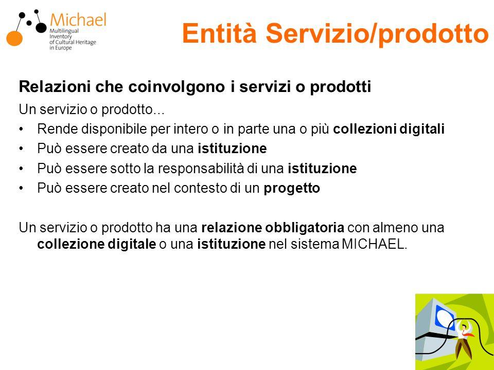 Relazioni che coinvolgono i servizi o prodotti Un servizio o prodotto...
