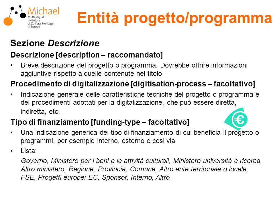 Entità progetto/programma Sezione Descrizione Descrizione [description – raccomandato] Breve descrizione del progetto o programma.