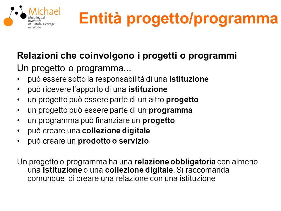 Entità progetto/programma Relazioni che coinvolgono i progetti o programmi Un progetto o programma...
