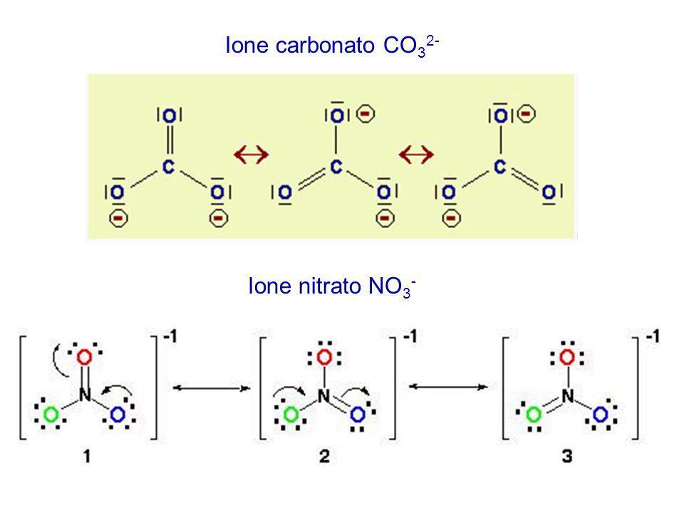 Ione carbonato CO 3 2- Ione nitrato NO 3 -