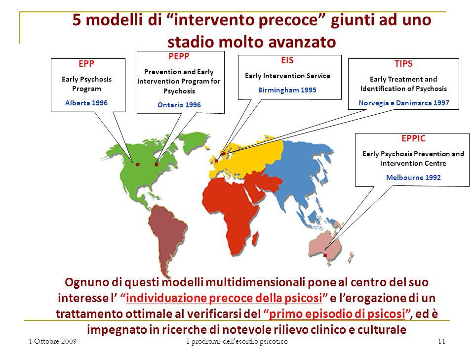 """1 Ottobre 2009 I prodromi dell'esordio psicotico 11.. 5 modelli di """"intervento precoce"""" giunti ad uno stadio molto avanzato Ognuno di questi modelli m"""