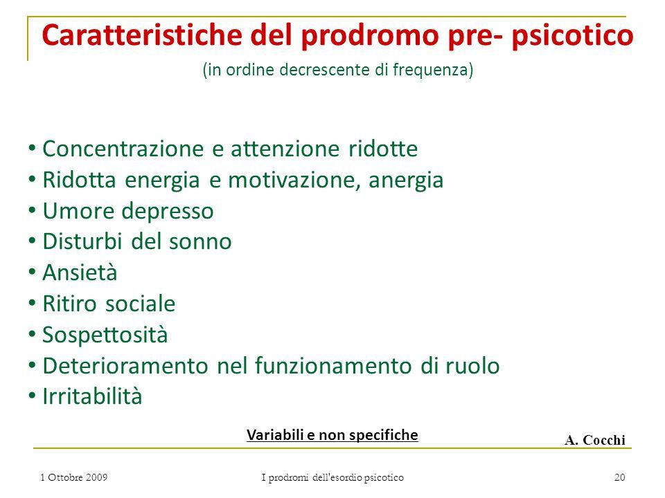 1 Ottobre 2009 I prodromi dell'esordio psicotico 20 Variabili e non specifiche Caratteristiche del prodromo pre- psicotico (in ordine decrescente di f