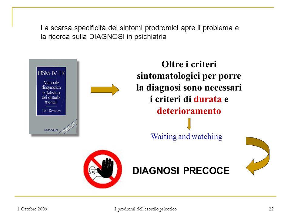 1 Ottobre 2009 I prodromi dell'esordio psicotico 22 Oltre i criteri sintomatologici per porre la diagnosi sono necessari i criteri di durata e deterio