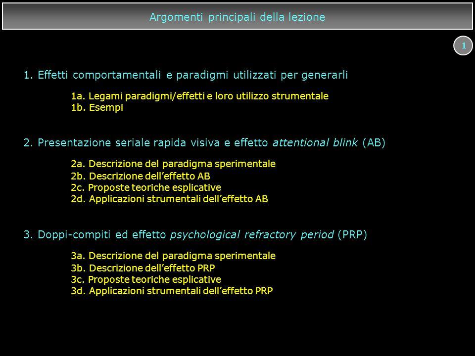 1 Argomenti principali della lezione 3. Doppi-compiti ed effetto psychological refractory period (PRP) 3a. Descrizione del paradigma sperimentale 3b.