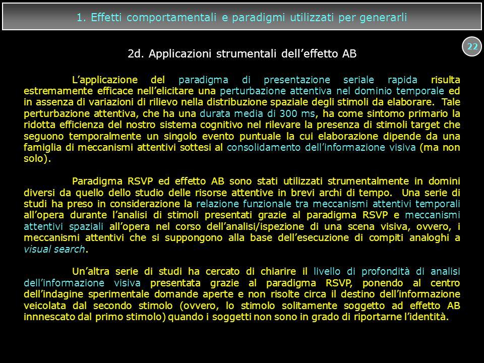 22 1. Effetti comportamentali e paradigmi utilizzati per generarli L'applicazione del paradigma di presentazione seriale rapida risulta estremamente e