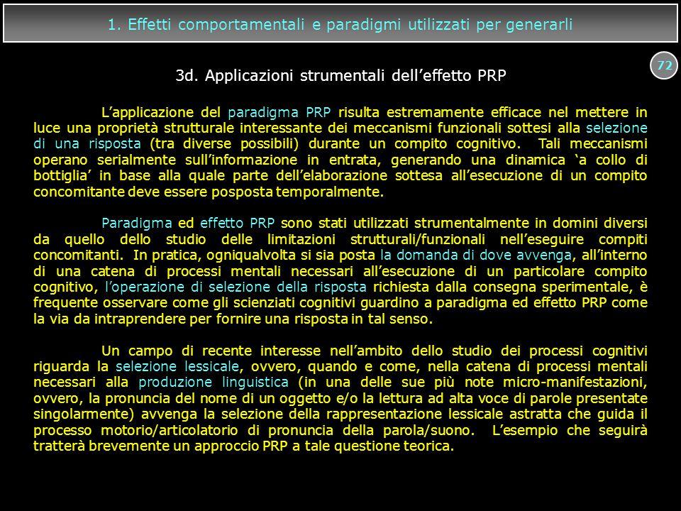 72 1. Effetti comportamentali e paradigmi utilizzati per generarli L'applicazione del paradigma PRP risulta estremamente efficace nel mettere in luce