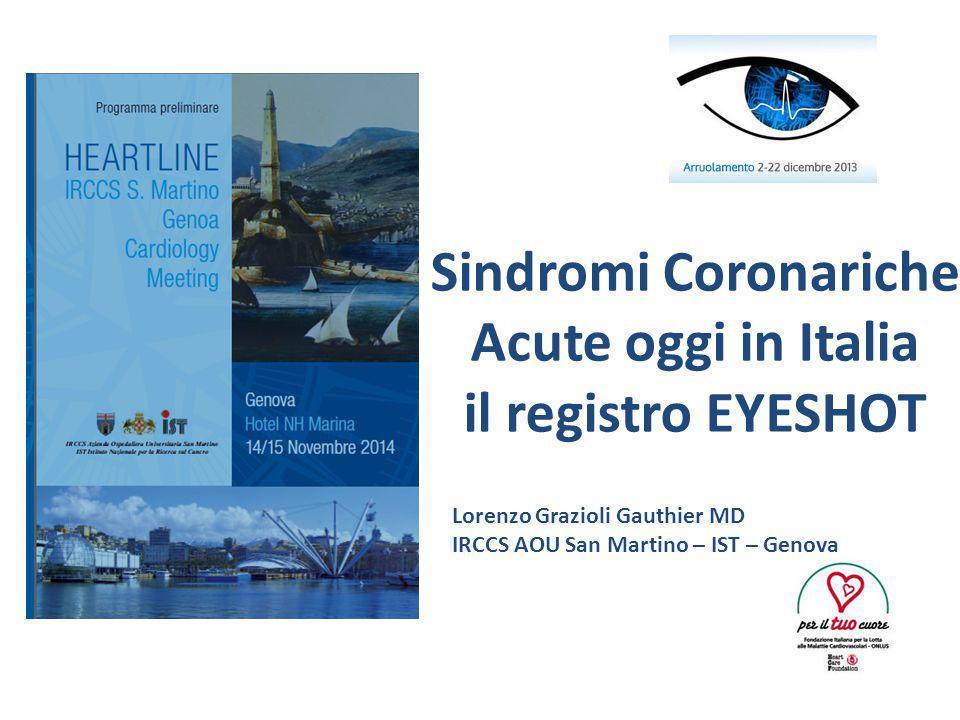 Sindromi Coronariche Acute oggi in Italia il registro EYESHOT Lorenzo Grazioli Gauthier MD IRCCS AOU San Martino – IST – Genova