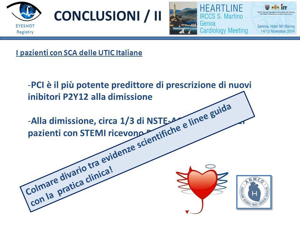 EYESHOT Registry CONCLUSIONI / II I pazienti con SCA delle UTIC Italiane -PCI è il più potente predittore di prescrizione di nuovi inibitori P2Y12 alla dimissione -Alla dimissione, circa 1/3 di NSTE-ACS e solo 2/3 dei pazienti con STEMI ricevono P2Y12 Colmare divario tra evidenze scientifiche e linee guida con la pratica clinica!