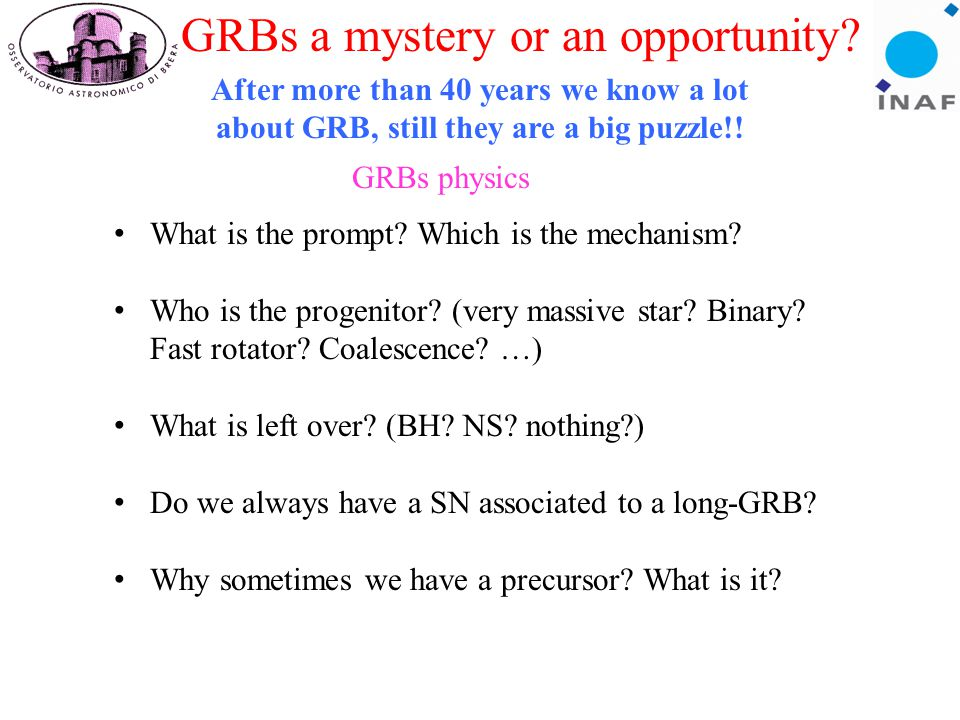 GRBs a mystery or an opportunity.