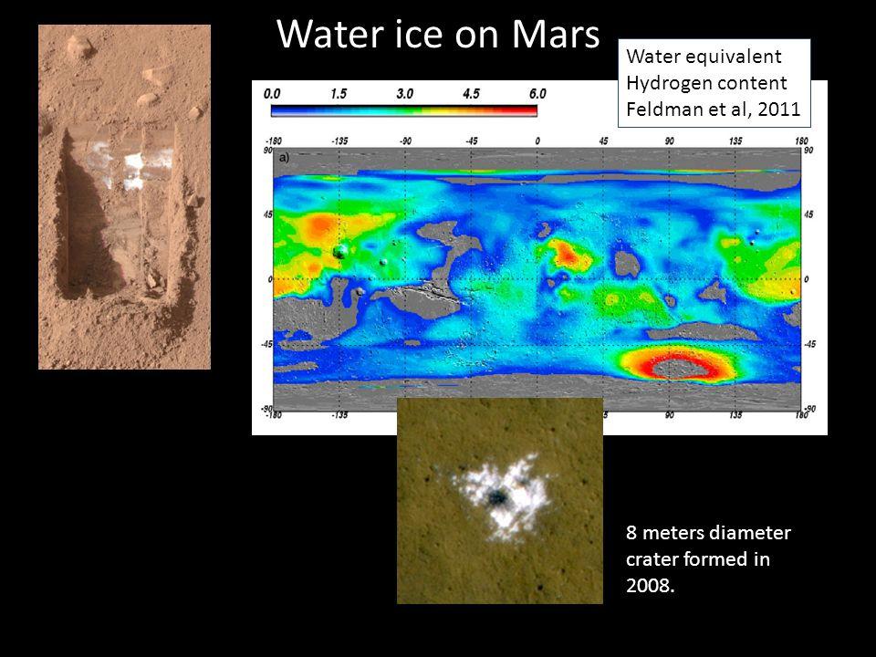 Water ice on Mars 8 meters diameter crater formed in 2008..