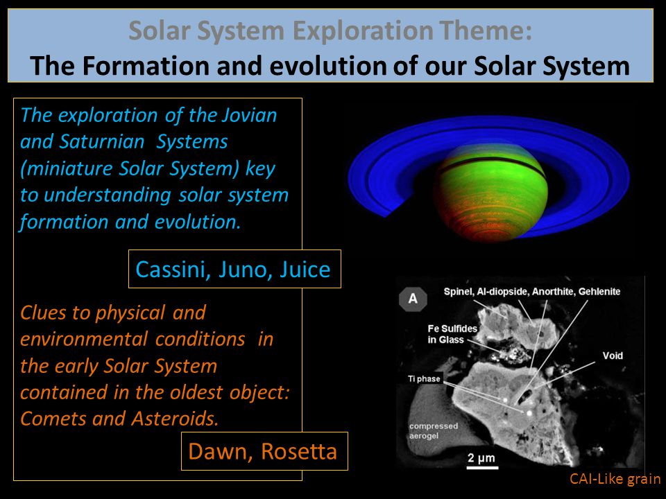 The exploration of the Jovian and Saturnian Systems (miniature Solar System) key to understanding solar system formation and evolution. Clues to physi