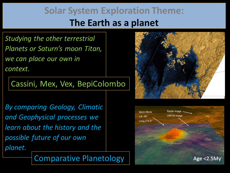 Studying the other terrestrial Planets or Saturn's moon Titan, we can place our own in context. By comparing Geology, Climatic and Geophysical process